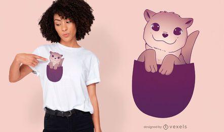Cute otter in pocket t-shirt design