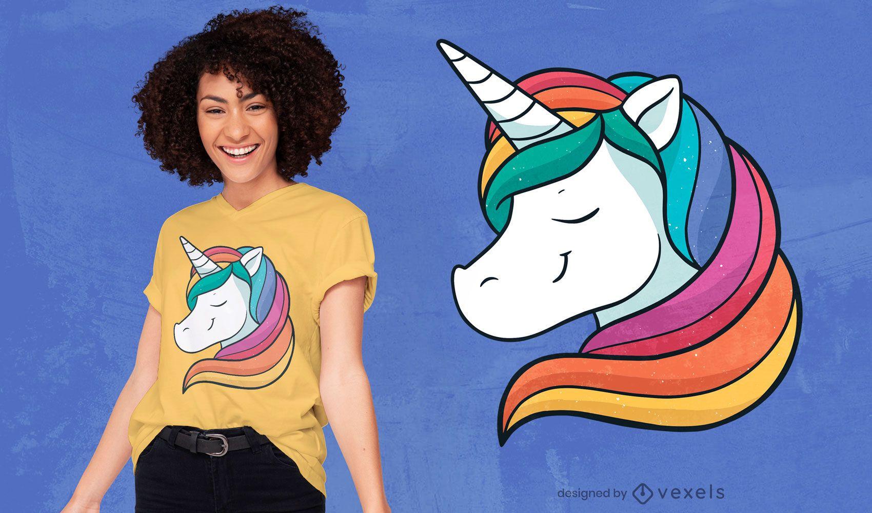 Design de camiseta de cabelo arco-íris feliz unicórnio