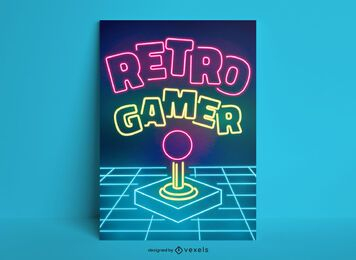 Retro gamer neon poster template