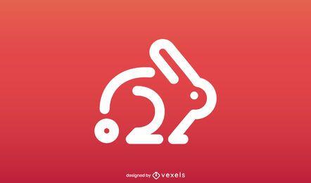 Modelo de logotipo de coelho minimalista
