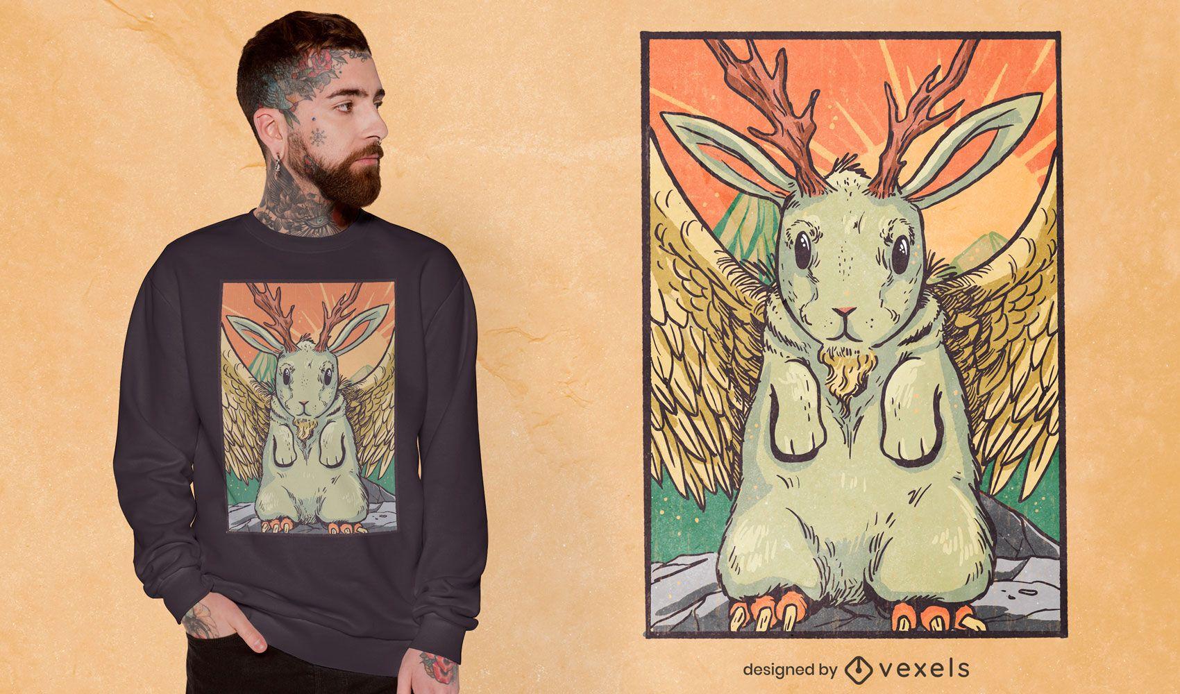 Design mítico de t-shirt com criatura de coelho