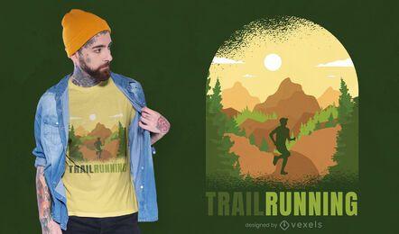Design de t-shirt da natureza do corredor de trilha