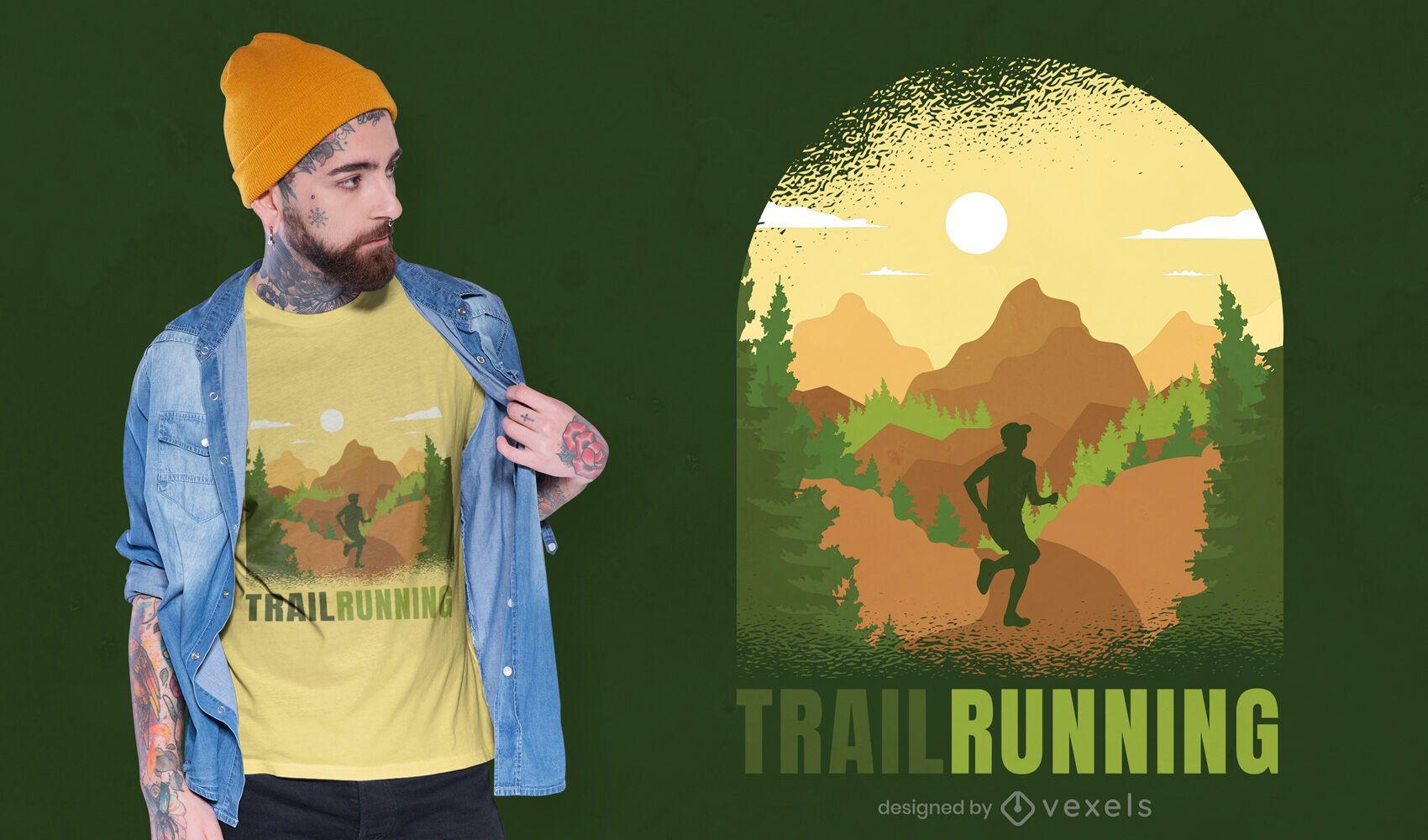 Diseño de camiseta trail runner nature.