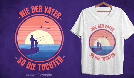 Diseño de camiseta de pesca de papá e hija.