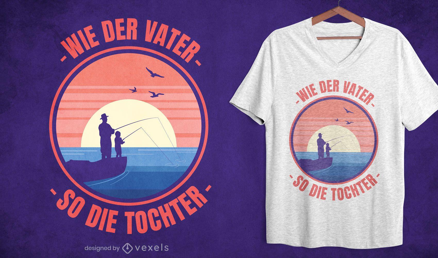 Desenho de t-shirt de pesca para pai e filha
