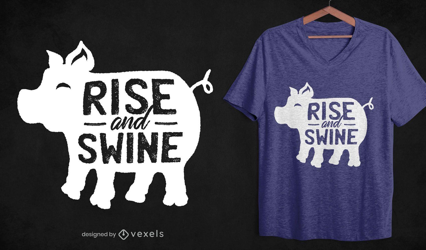 Desenho de camiseta silhueta de porco