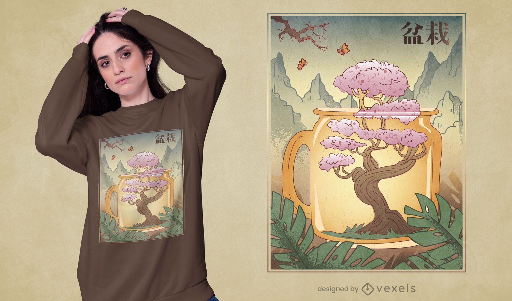 Design de camiseta de cerejeira japonesa bonsai