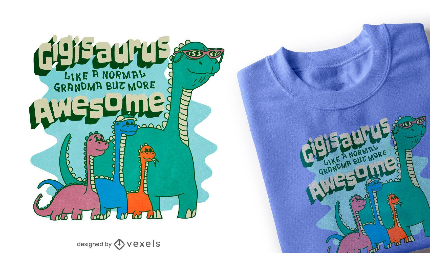 Design de t-shirt da família de dinossauros da avó