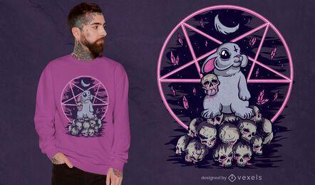 Diseño de camiseta de conejito espeluznante esotérico