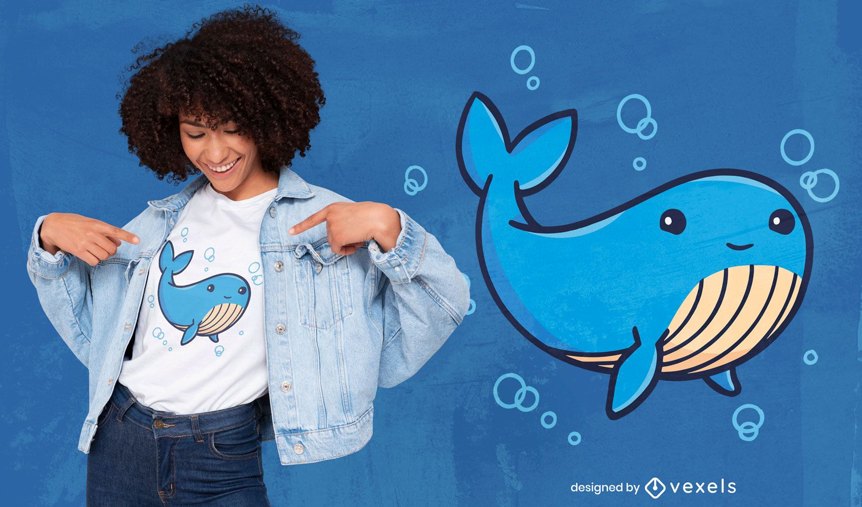 Diseño de camiseta de dibujos animados lindo ballena azul