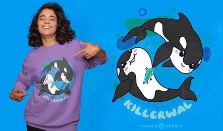 Adorable killer whales t-shirt design