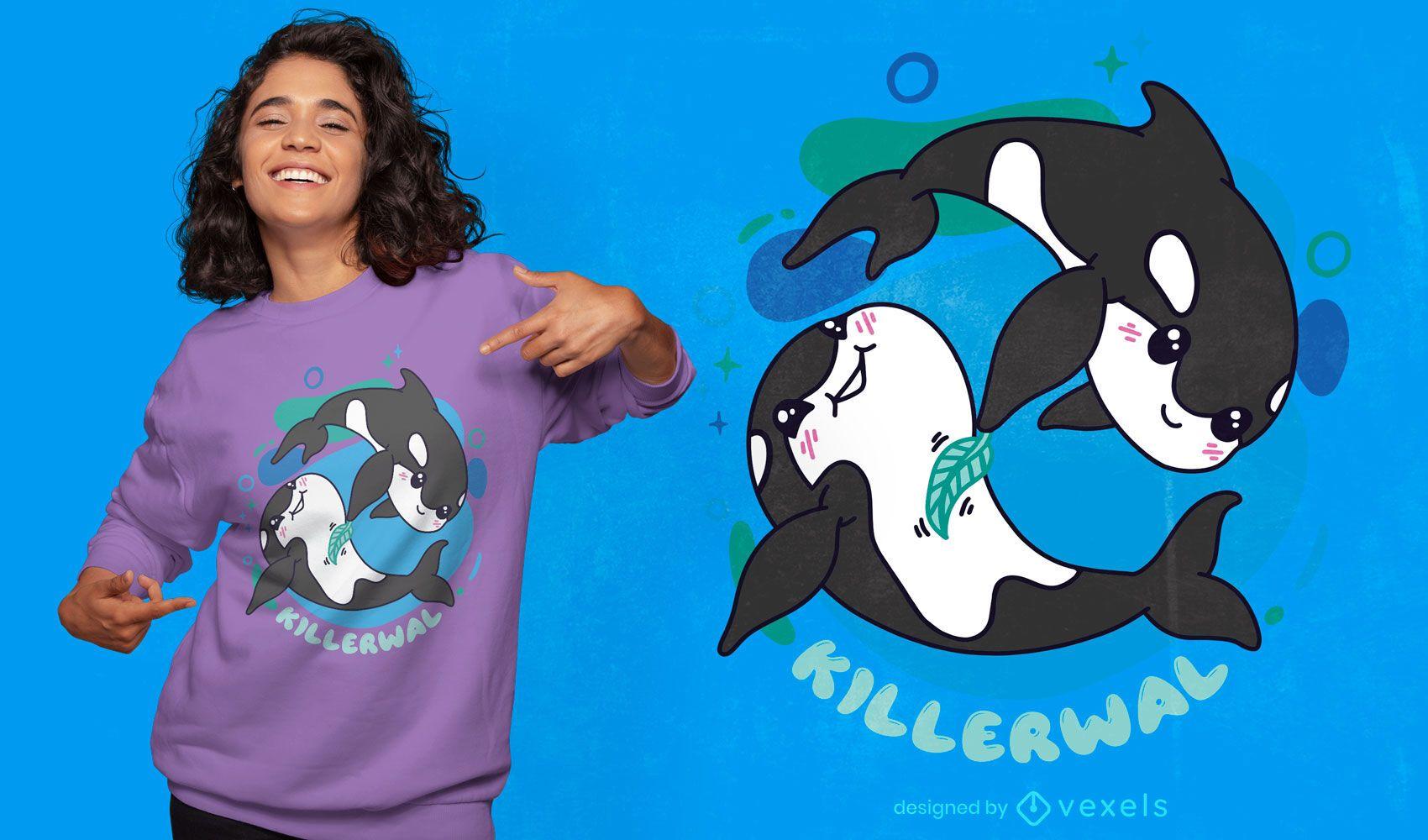 Adorable diseño de camiseta de ballenas asesinas
