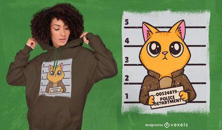 Diseño de camiseta de dibujos animados de gato mugshot