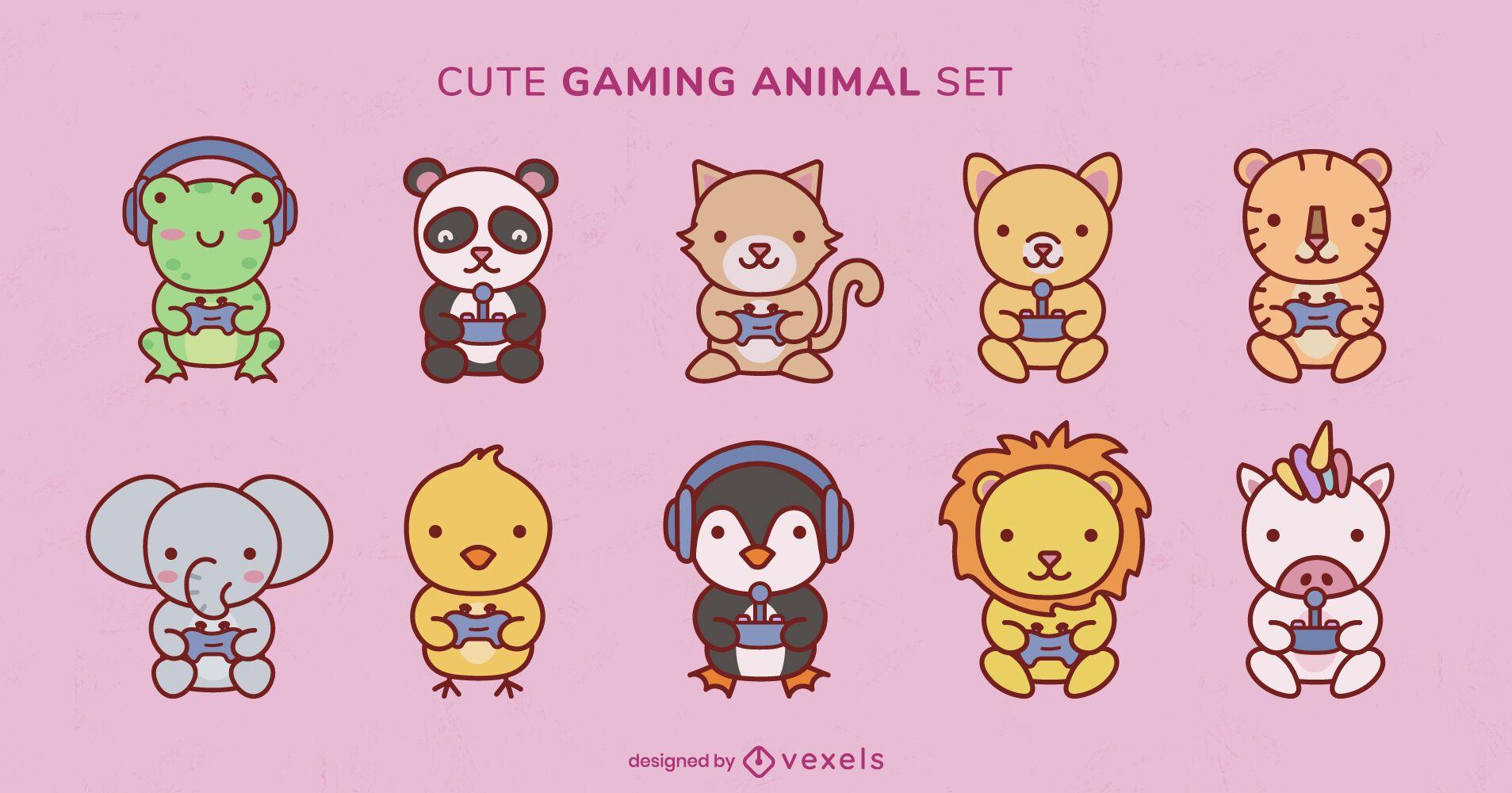Conjunto de joystick de jogos de animais selvagens fofos