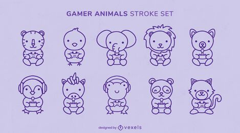 Cute animals gaming joystick set
