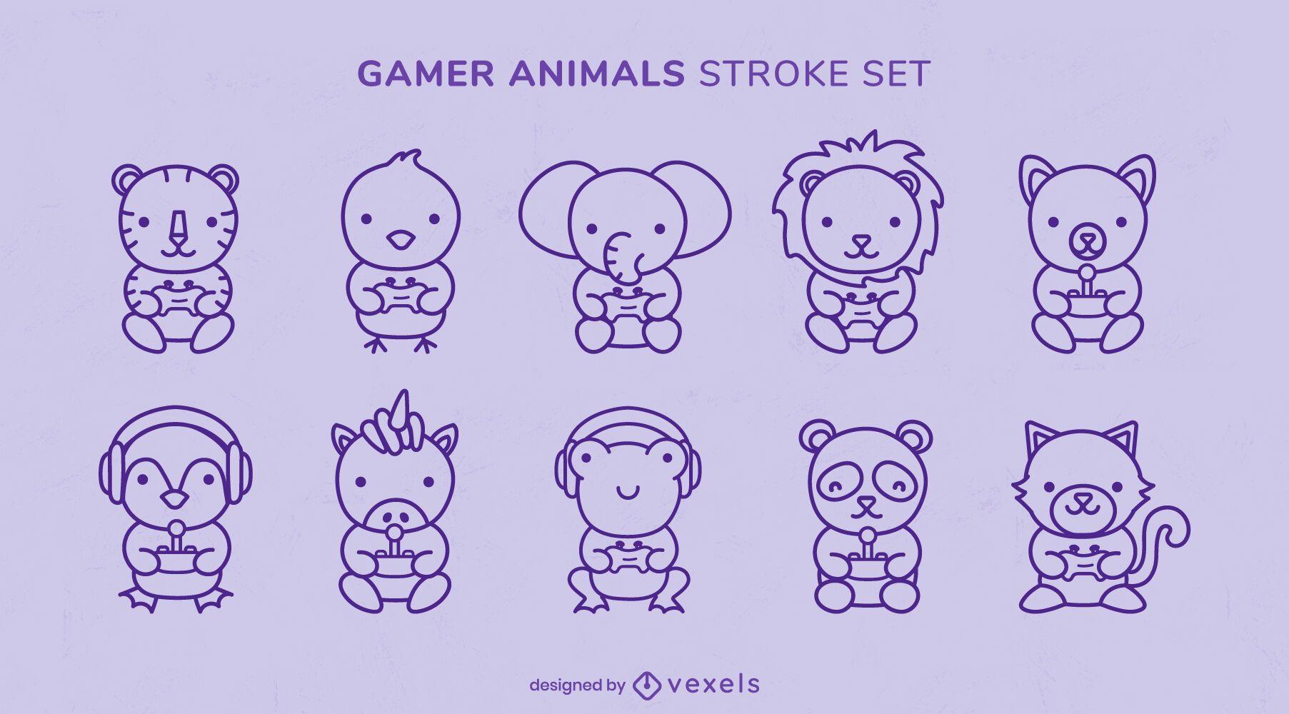 Conjunto de joystick de jogos de animais fofos