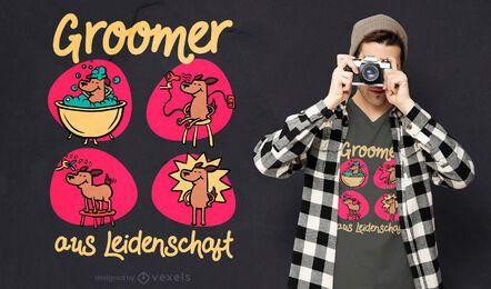 Cão cuidando do design de t-shirt com citações alemãs