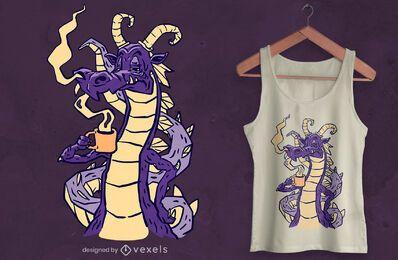 Diseño de camiseta de dragón bebiendo café.