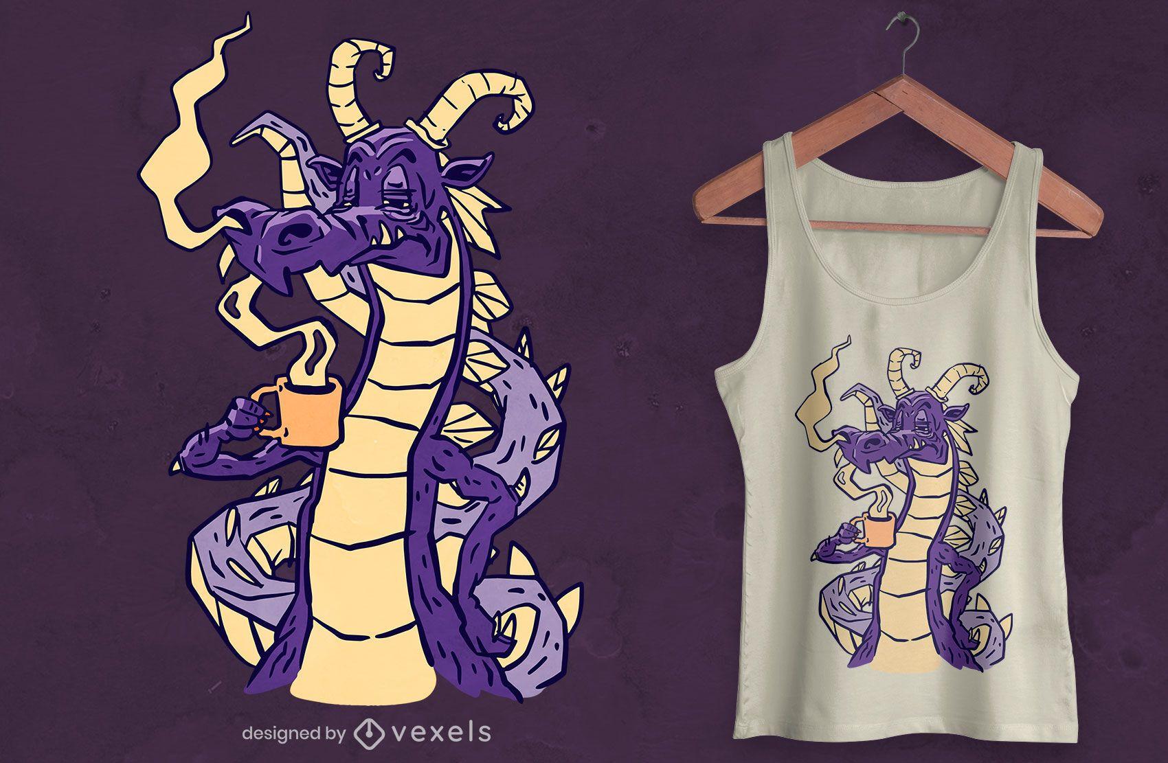 Design de camiseta de dragão bebendo café