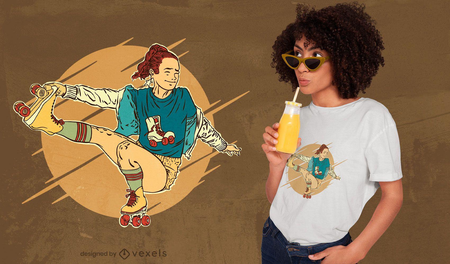 Design artístico de t-shirt de patinagem sobre rodas