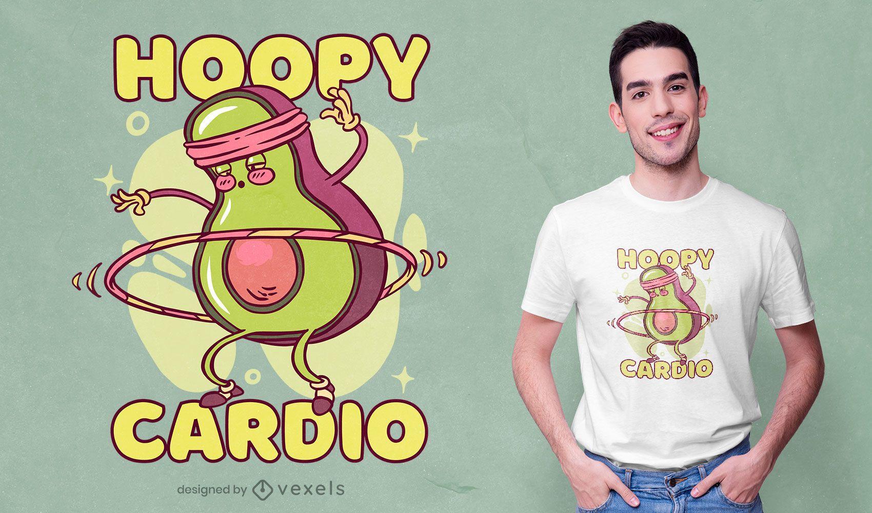Diseño de camiseta de personaje deportivo de aguacate.