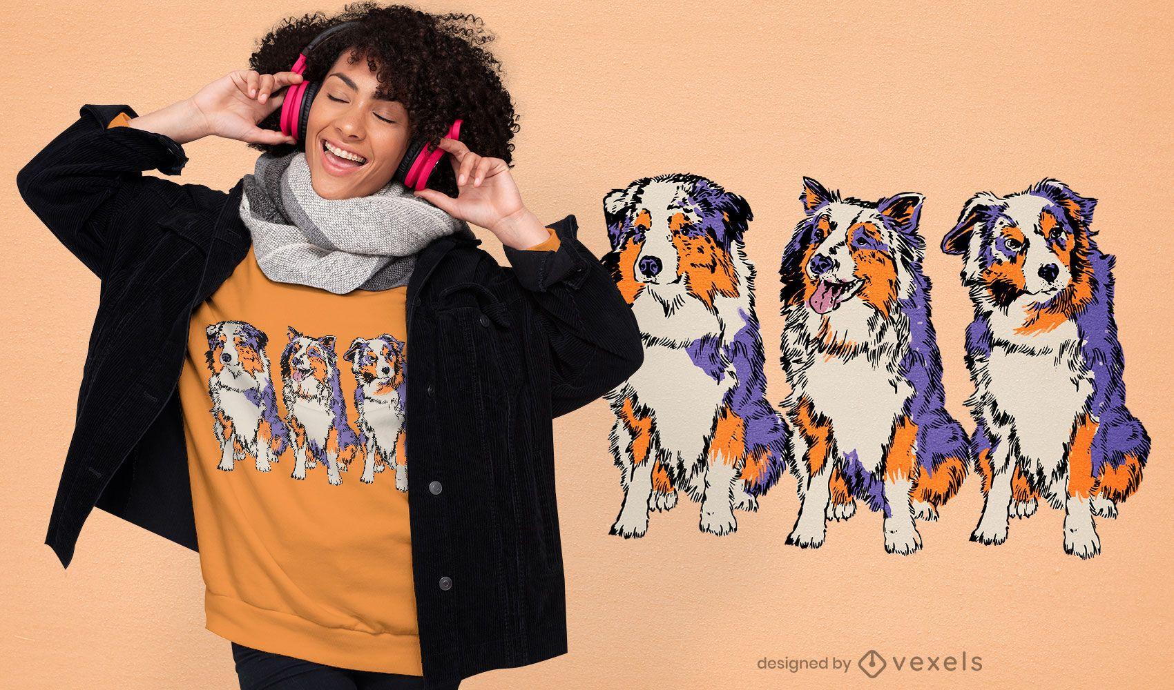 Shepherd dogs hand drawn t-shirt design
