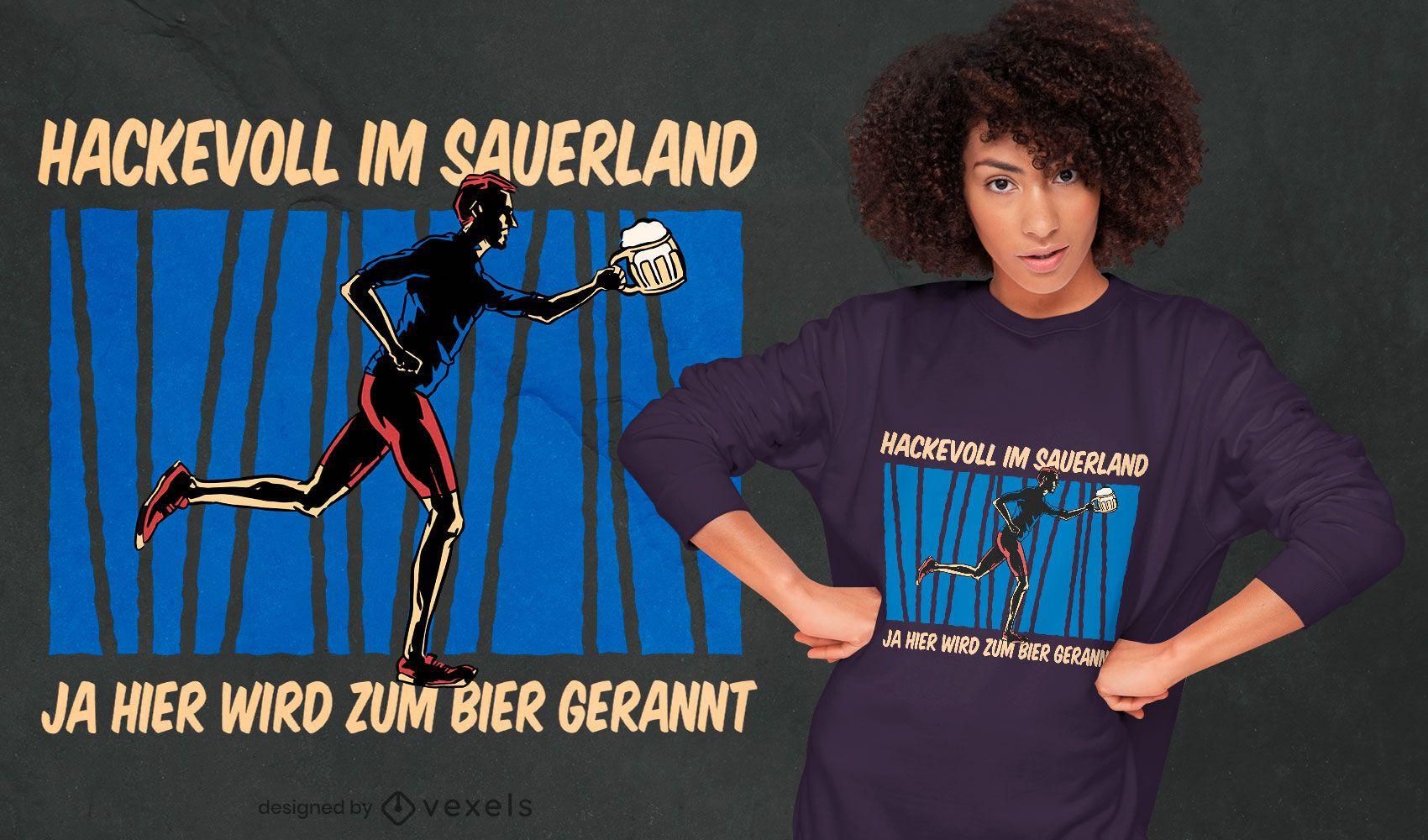 Cerveza corriendo diseño de camiseta de cita alemana.