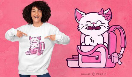 Design de t-shirt de gatinho de volta às aulas