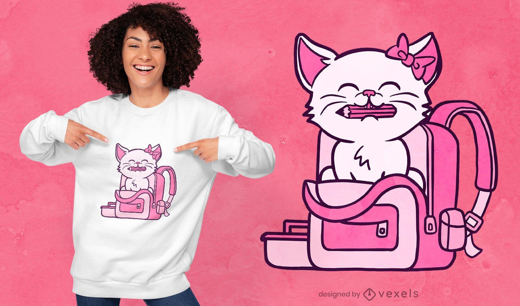 Diseño de camiseta de gatito de regreso a la escuela