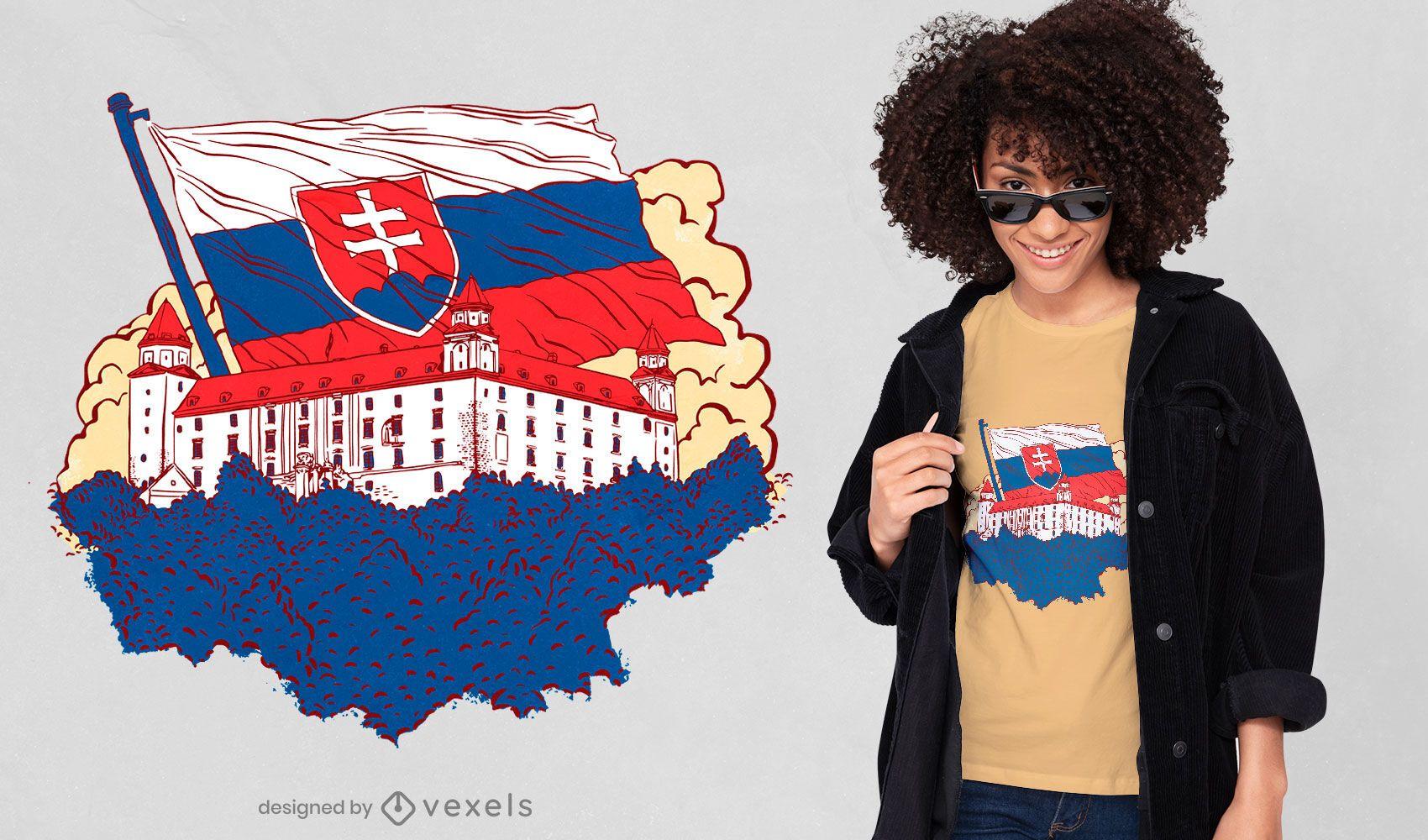 Diseño de camiseta de castillo eslovaco