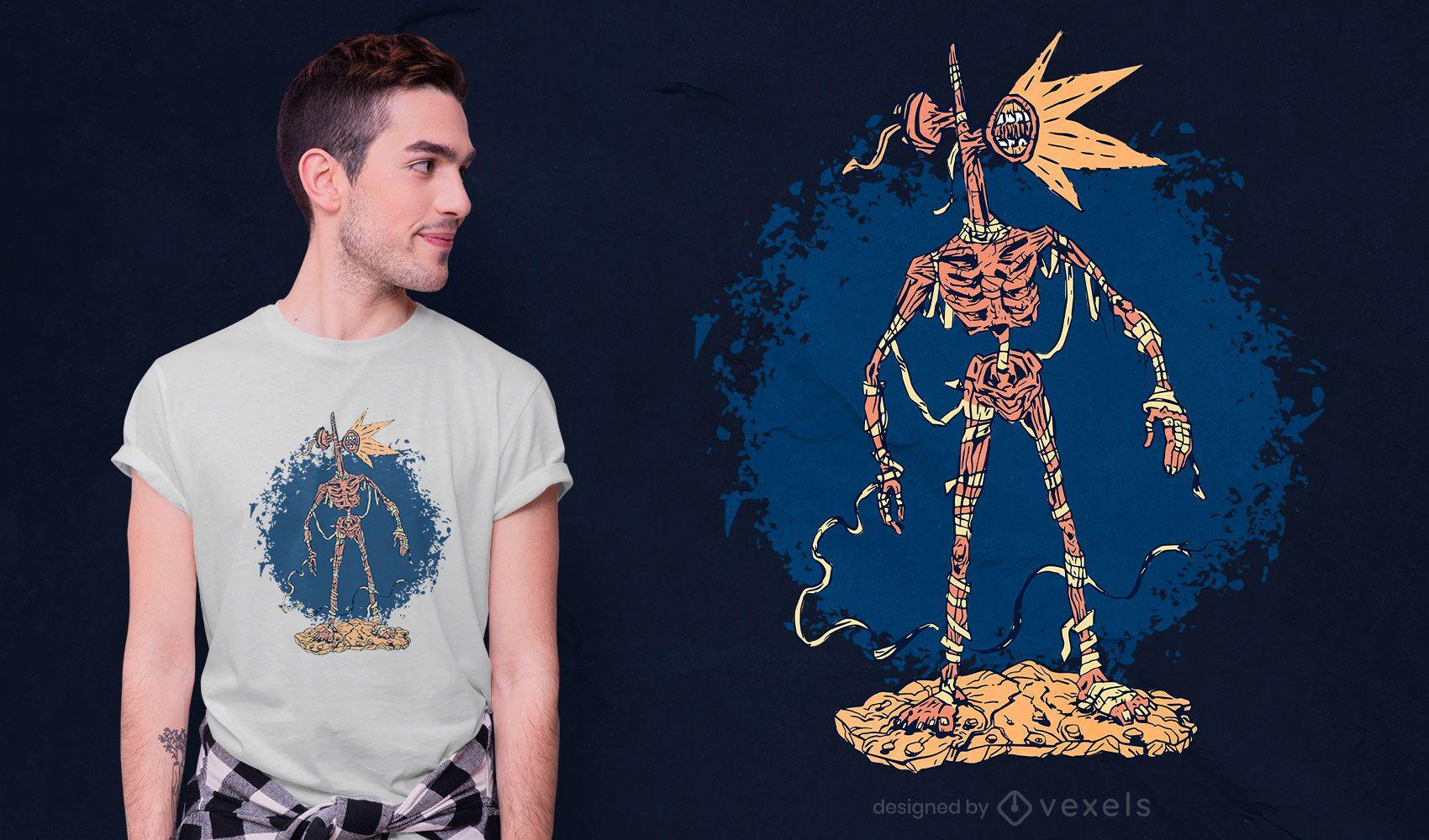 Monstro fantasiado de múmia com design de camiseta