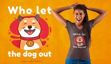 Diseño de camiseta de perro con cuello Dogecoin.