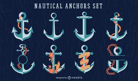 Conjunto de ilustración náutica de barco de ancla