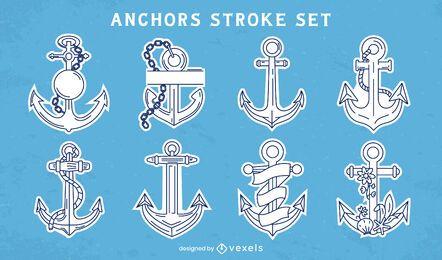 Conjunto de arte de linha náutica de navio âncora