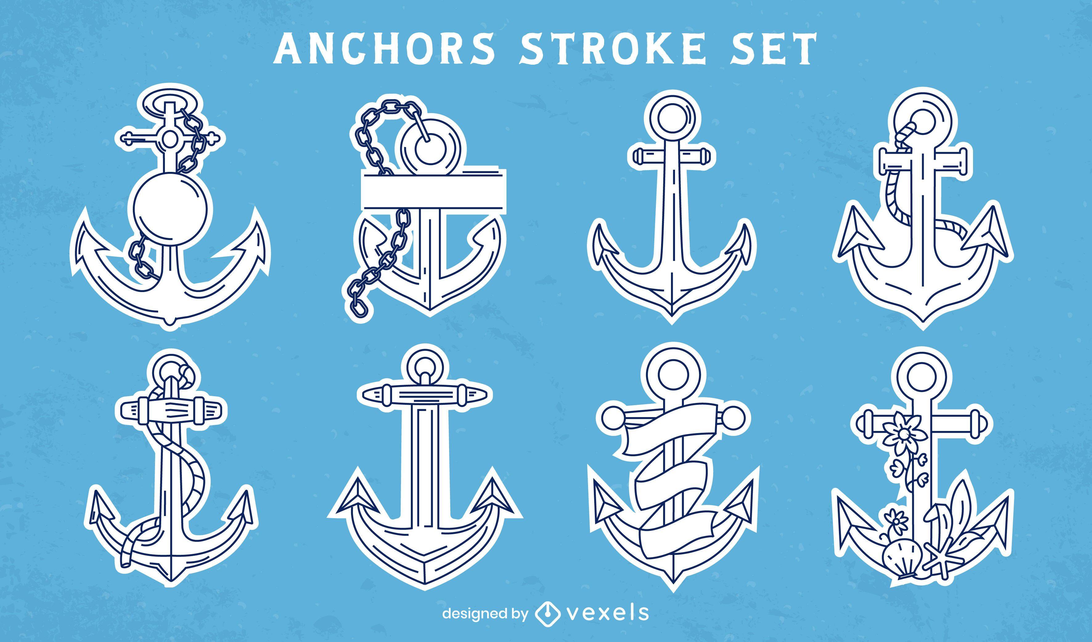 Anchor ship nautical line art set
