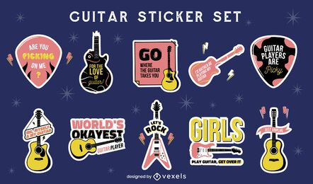 Set de pegatinas de instrumentos musicales de guitarra