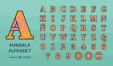 Alphabet design in mandala floral style