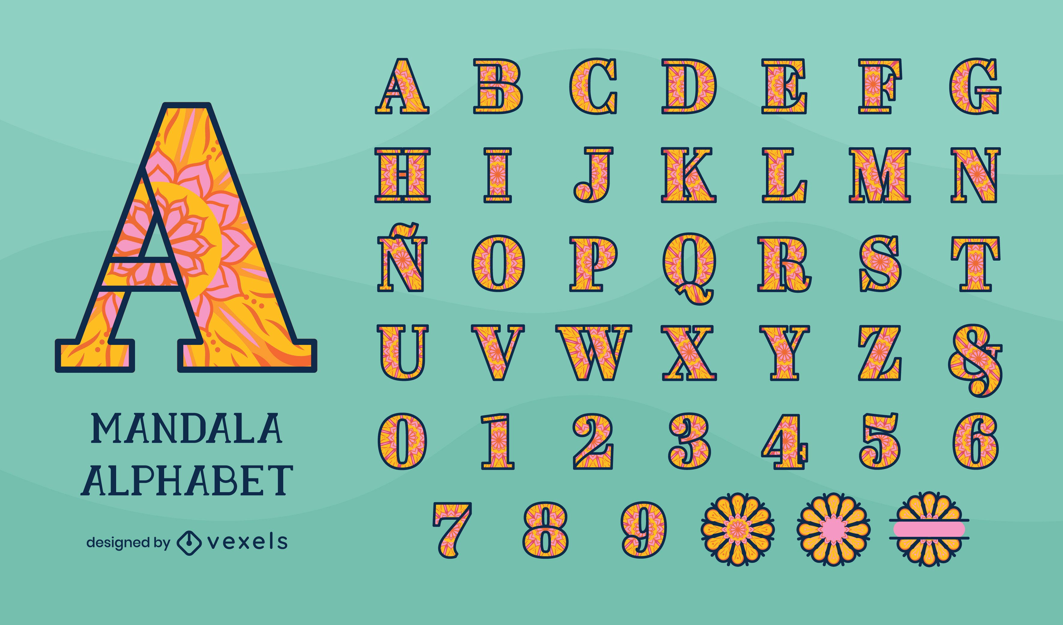Diseño de alfabeto en estilo floral mandala.