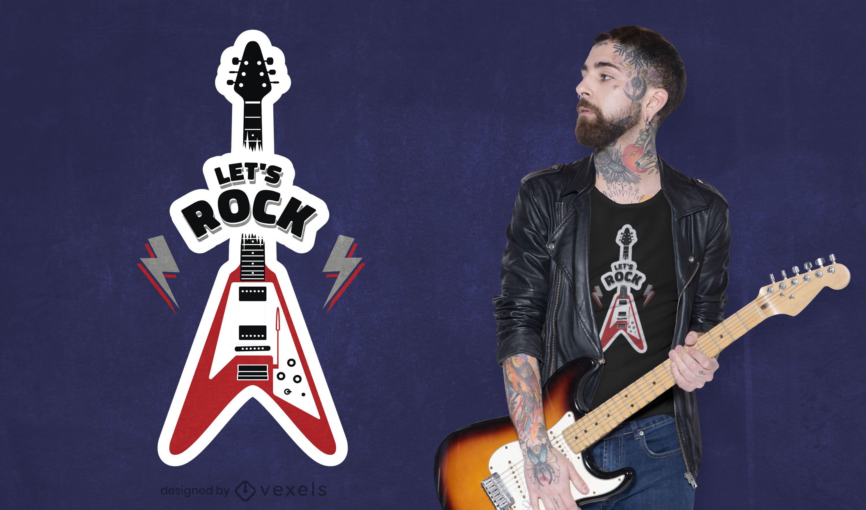 Diseño de camiseta de guitarra rock