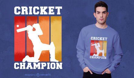 Design de camiseta do campeão do jogador de críquete