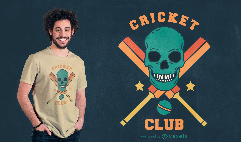 Diseño de camiseta de cricket sport skull equipment.