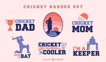 Cricket sport family quotes badges set