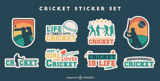 Cricket sport fun quotes set de pegatinas