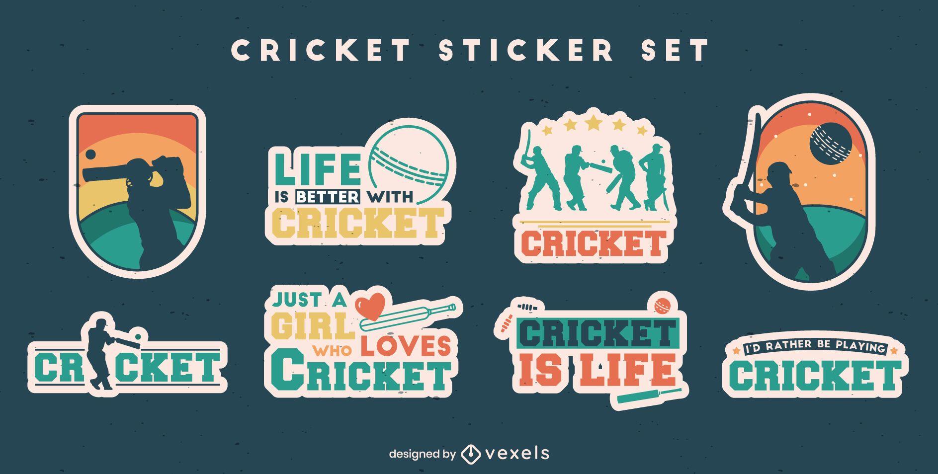 Cricket sport fun quotes sticker set