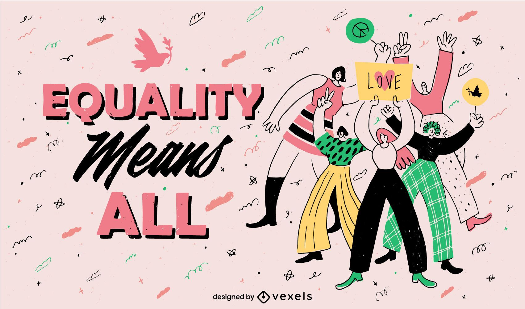Peace day equality doodle illustration
