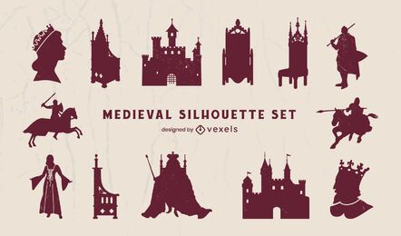 Medieval kingdom elements silhouette pack