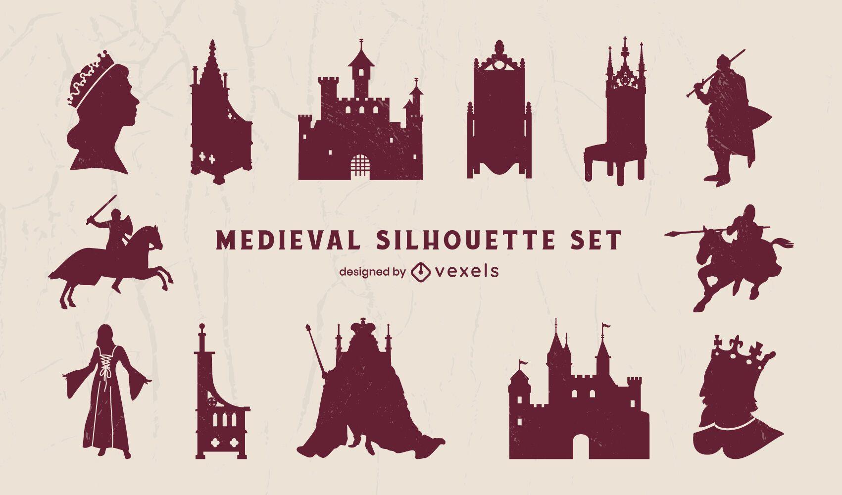 Pack de silueta de elementos del reino medieval