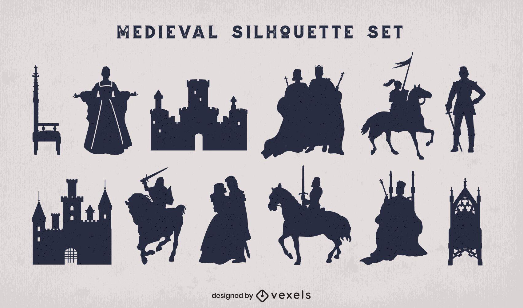 Pack silueta reino medieval