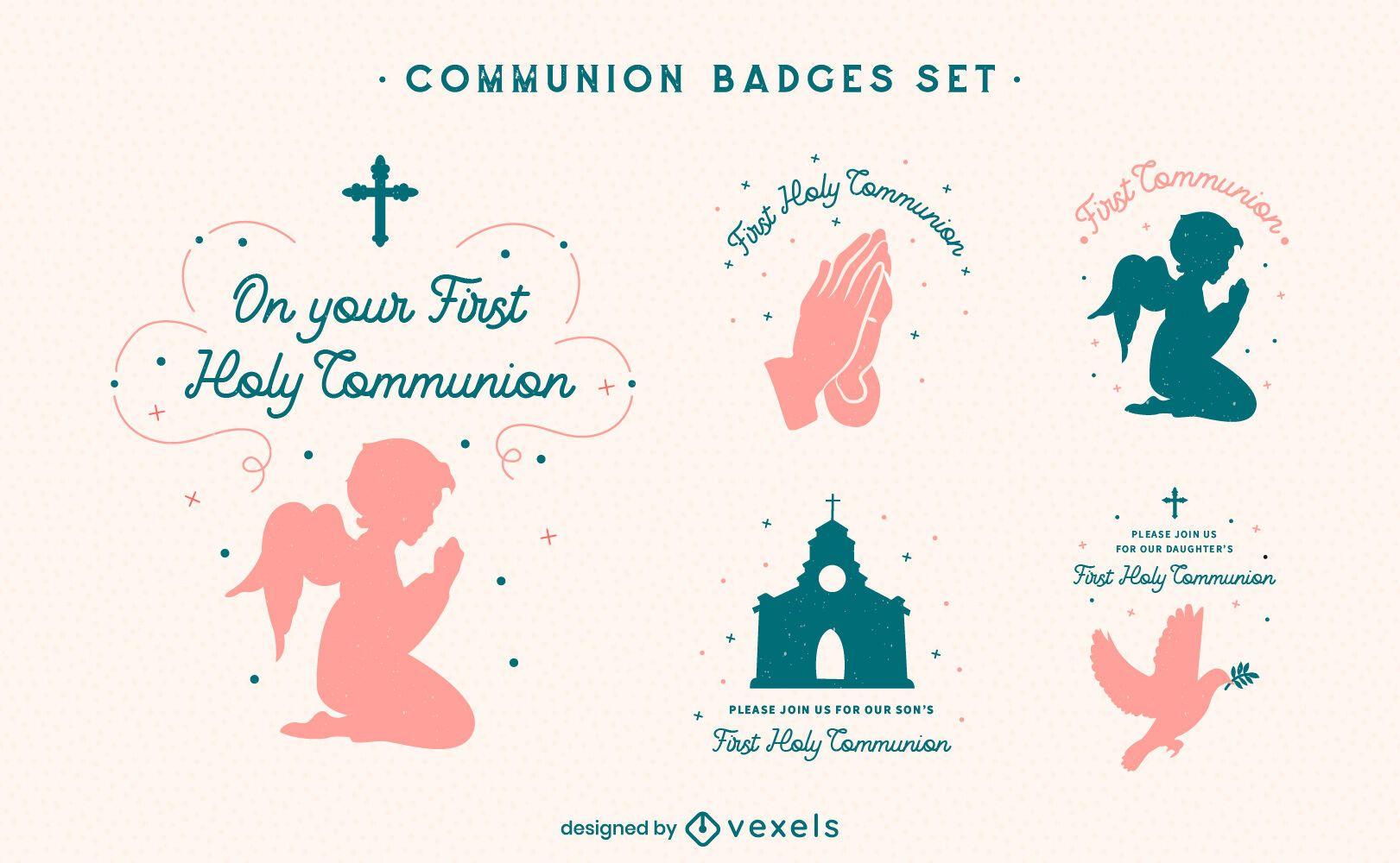 Conjunto de insignias de comunión de religión de cristianismo