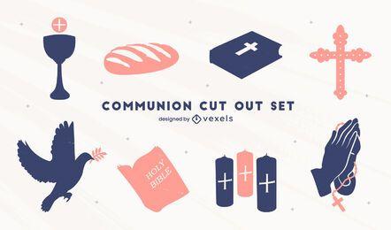 Conjunto de recortes de comunión cristiana